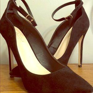 ShoeDazzle Suede Black High Heels